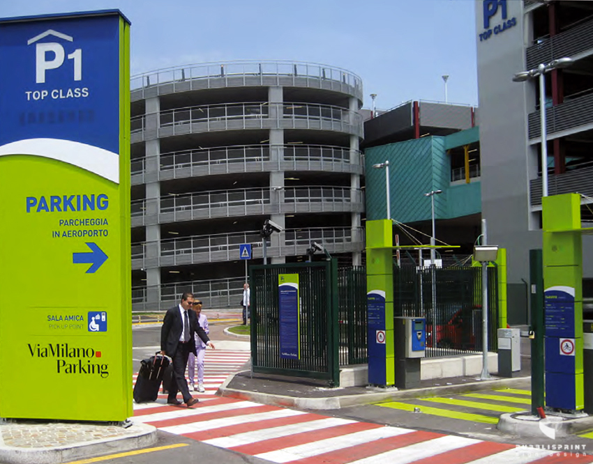 Linate parking stardust powder coatings for Executive milano